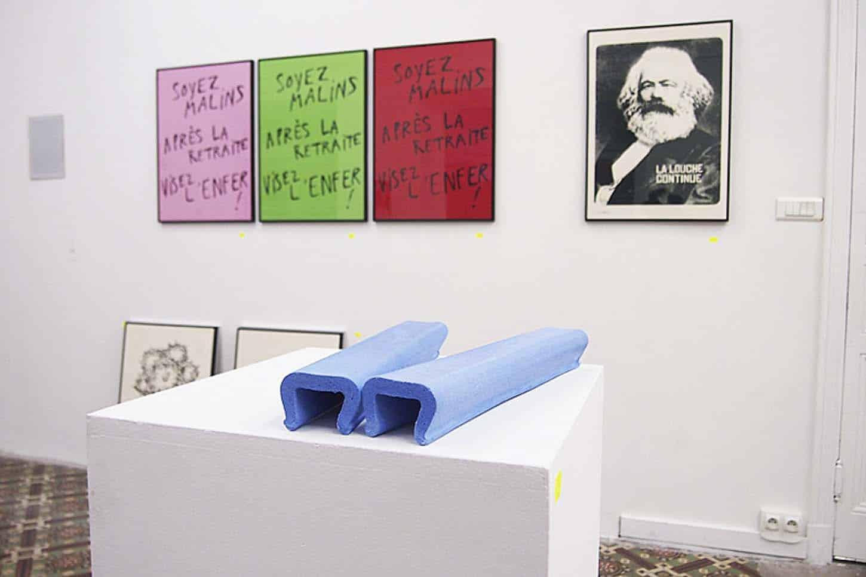Premier plan : Raphaël Denis,Martyr Bleu, 2013,Plâtre teinté dans la masse, 20 ex et 5 EA