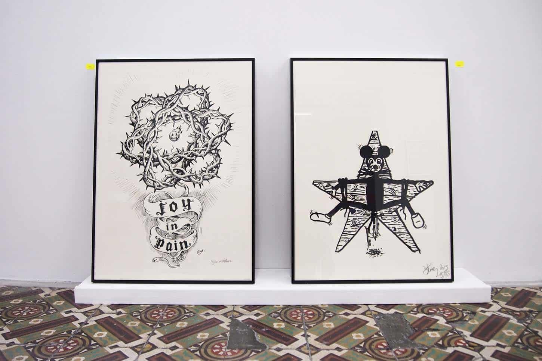 De gauche à droite: Winsnhuss, Stéphane Steiner. Sérigraphies 50/70cm, 50 ex.