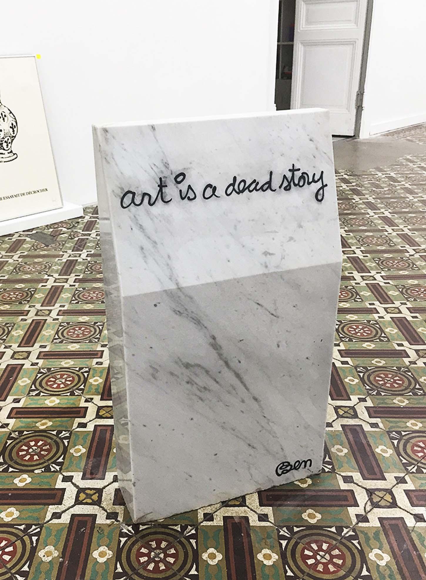 Ben Vautier,Art is a dead story, 1989,Marbre de Carrare, 65 x 40 x 15 cm. 6 ex.