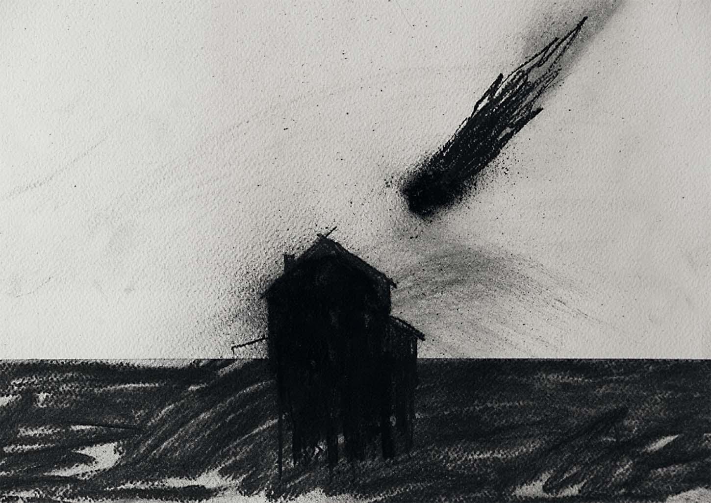 Eglé Vismanté, Faits ordinaires, 2019, fusain et pigment noir sur papier, 30x45cm