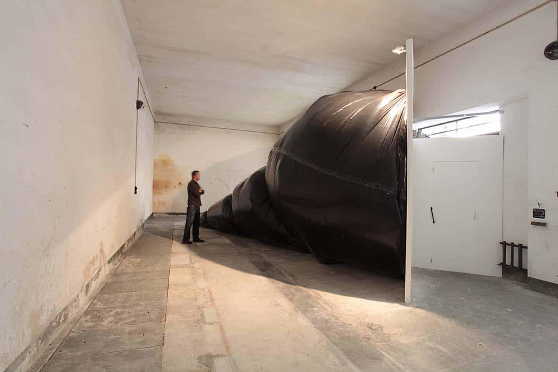 Espace A VENDRE, Vue d'ensemble, exposition Buccinum par Stéphane Protic.  12x4 mètres, Polyéthylène, cordes, plaque de plâtres, portes, vlc, 2015.