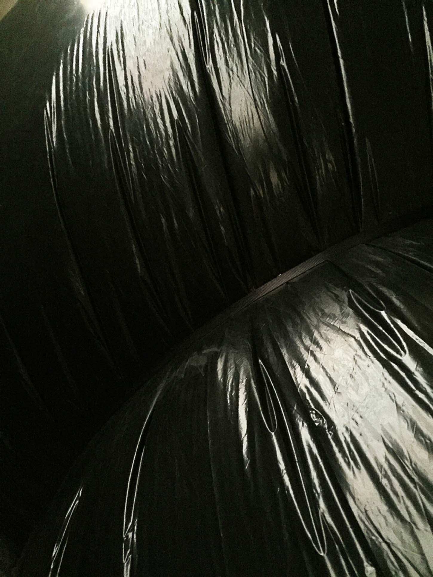 Stéphane Protic, Buccinum, 12x4 mètres, Polyéthylène, cordes, plaque de plâtres, portes, vlc, 2015.