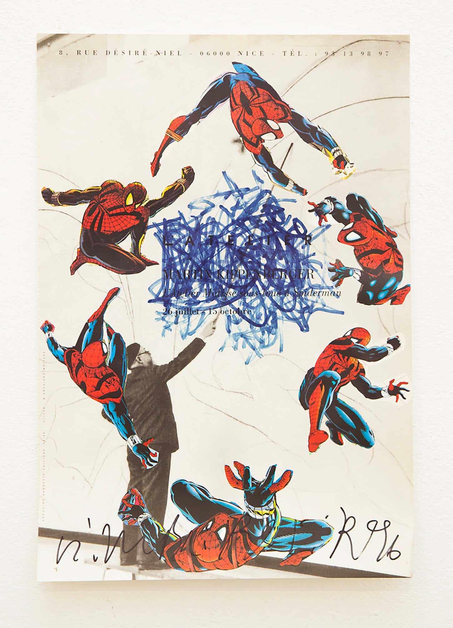 Stéphane Steiner, Sans titre, dessinau feutre sur affiche signée par Martin Kippenberger, format A4, 1996.Affiche de l'exposition :L'atelier Matisse sous loué à Spiderman, M. Kippenburger, 26 juillet - 15 octobre 1996.